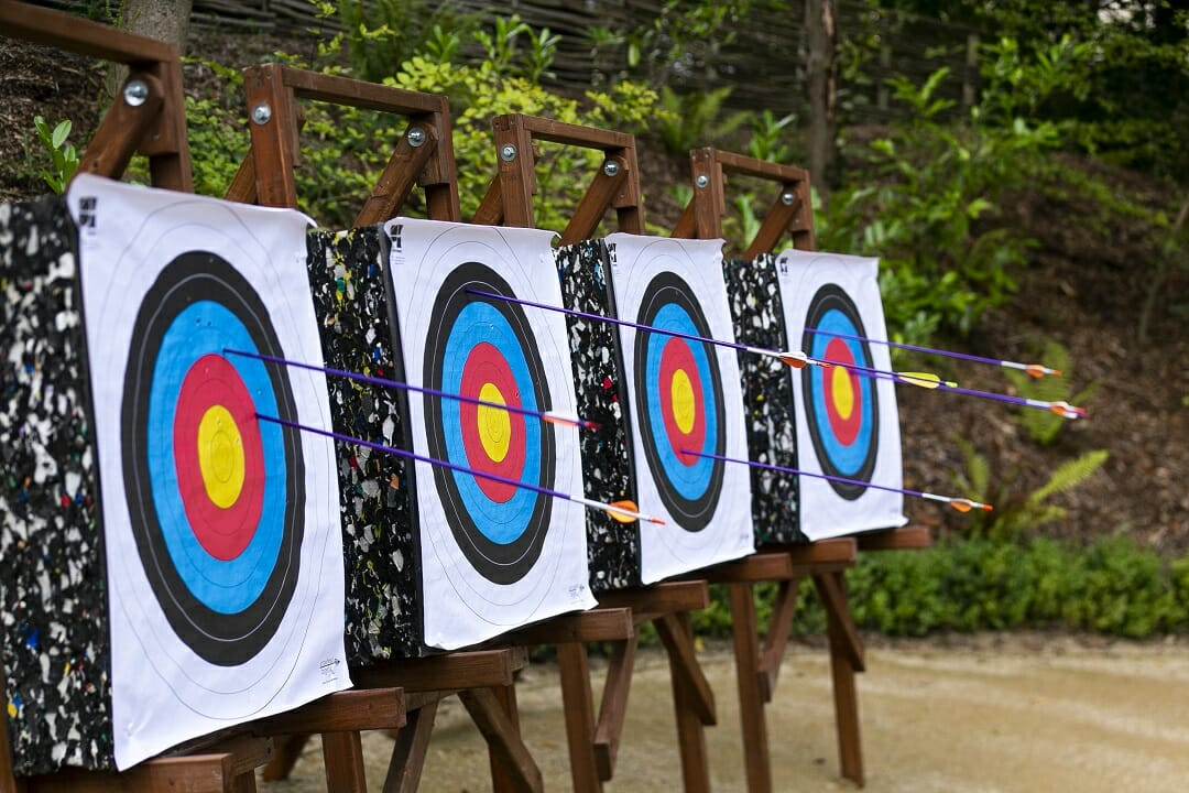 a team building game of archery in the forest, with the arrows in the targets