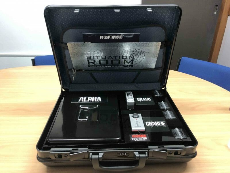 situation room brief case opened with an information card, controls and alpha, bravo, charlie signs.