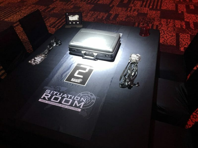 The teambuilding game Situation Room laid out on a table including a briefcase and lanyards.