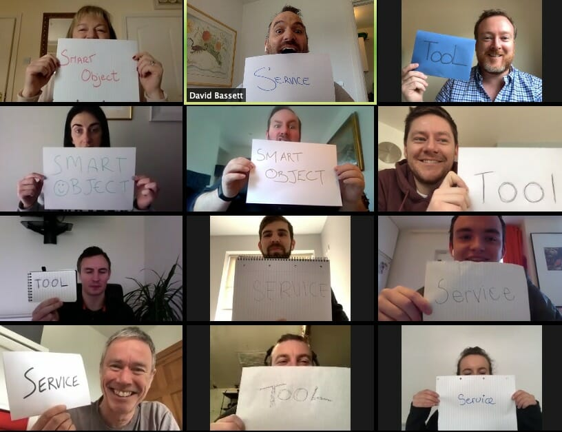 Delegates playing Digital Global Innovation Game; one of Orangeworks virtual team meeting games that inspires creativity.