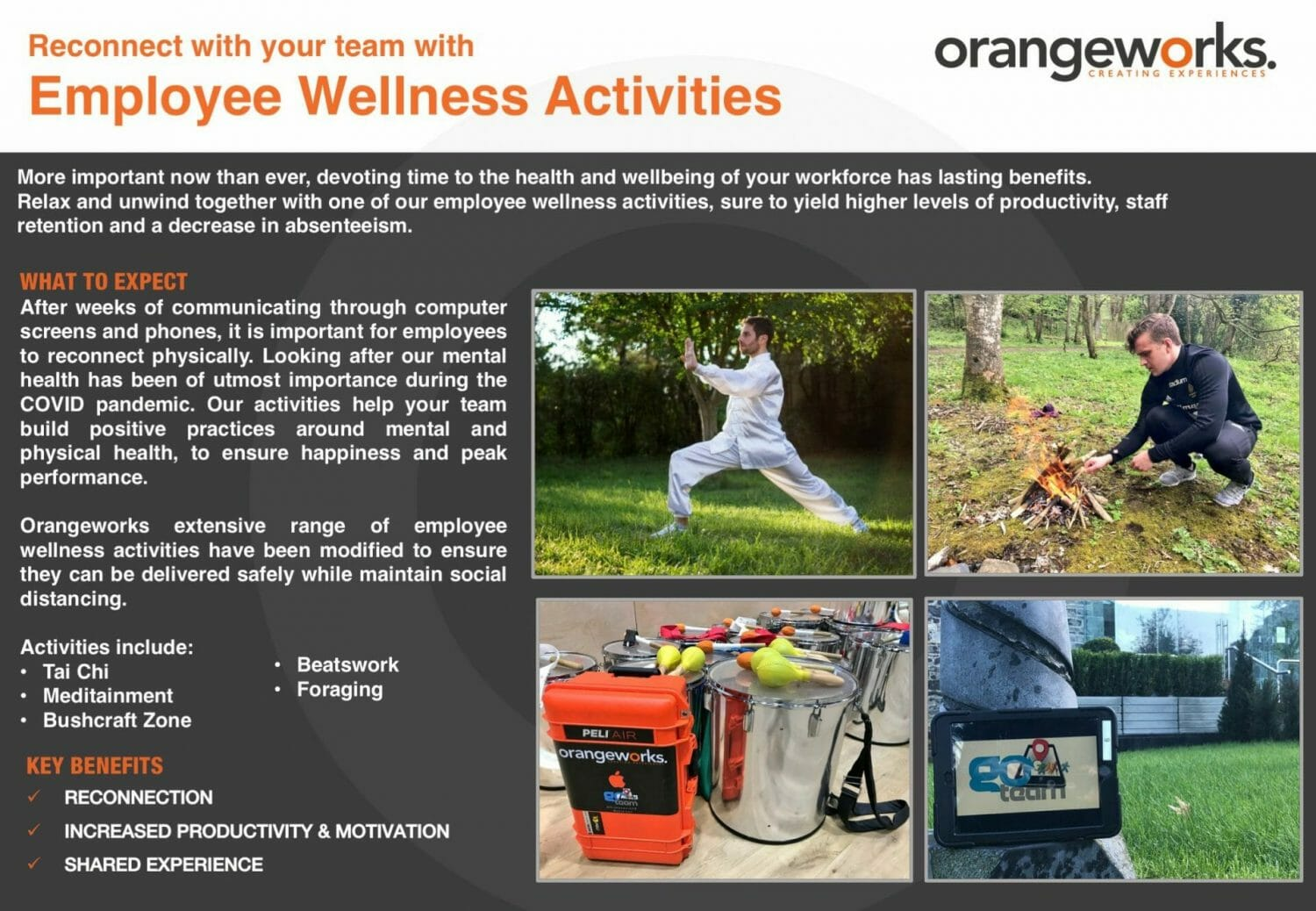 Orangeworks physical team bonding activities and employee wellness activities.
