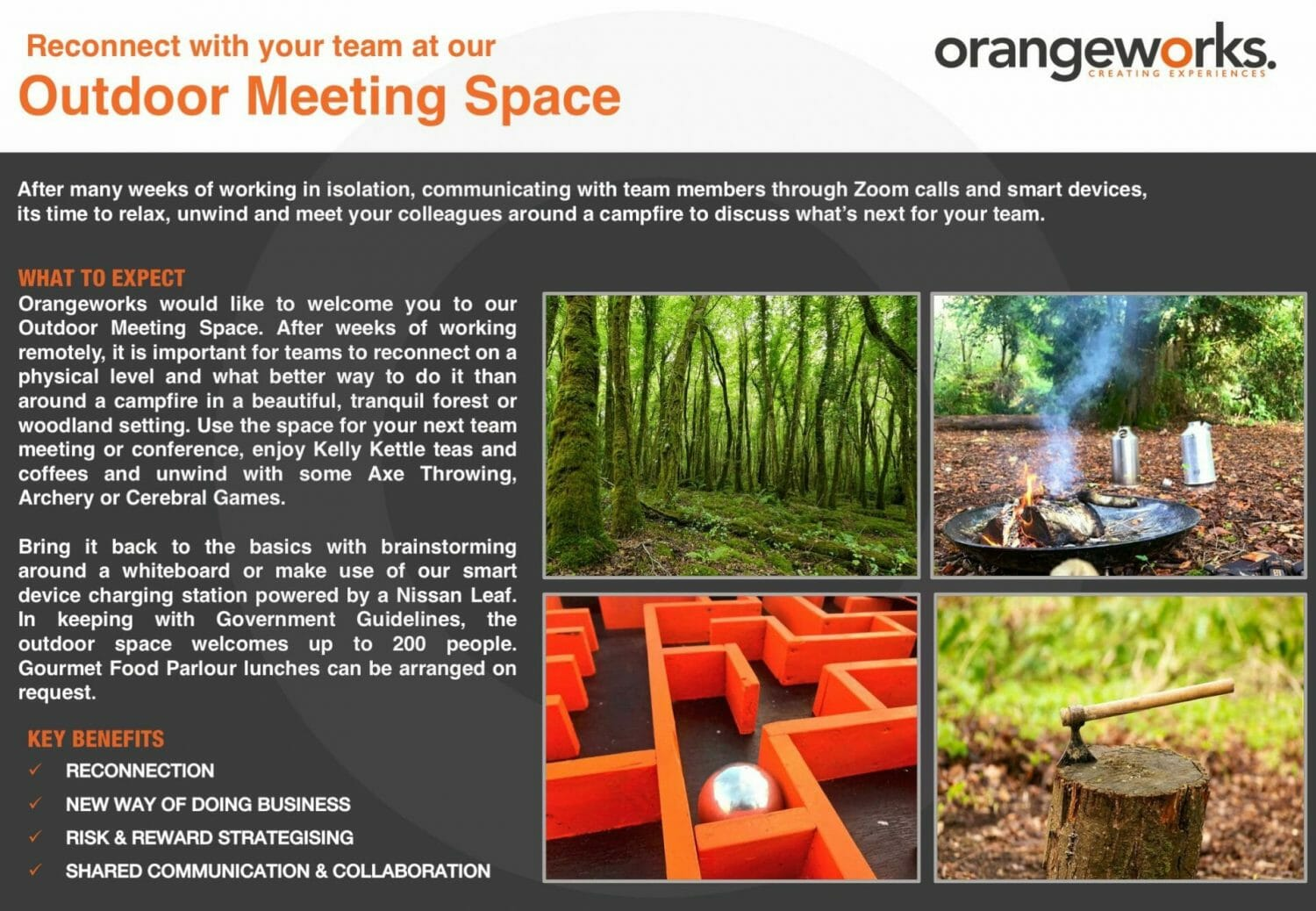 Orangeworks physical team bonding activities and outdoor meeting space