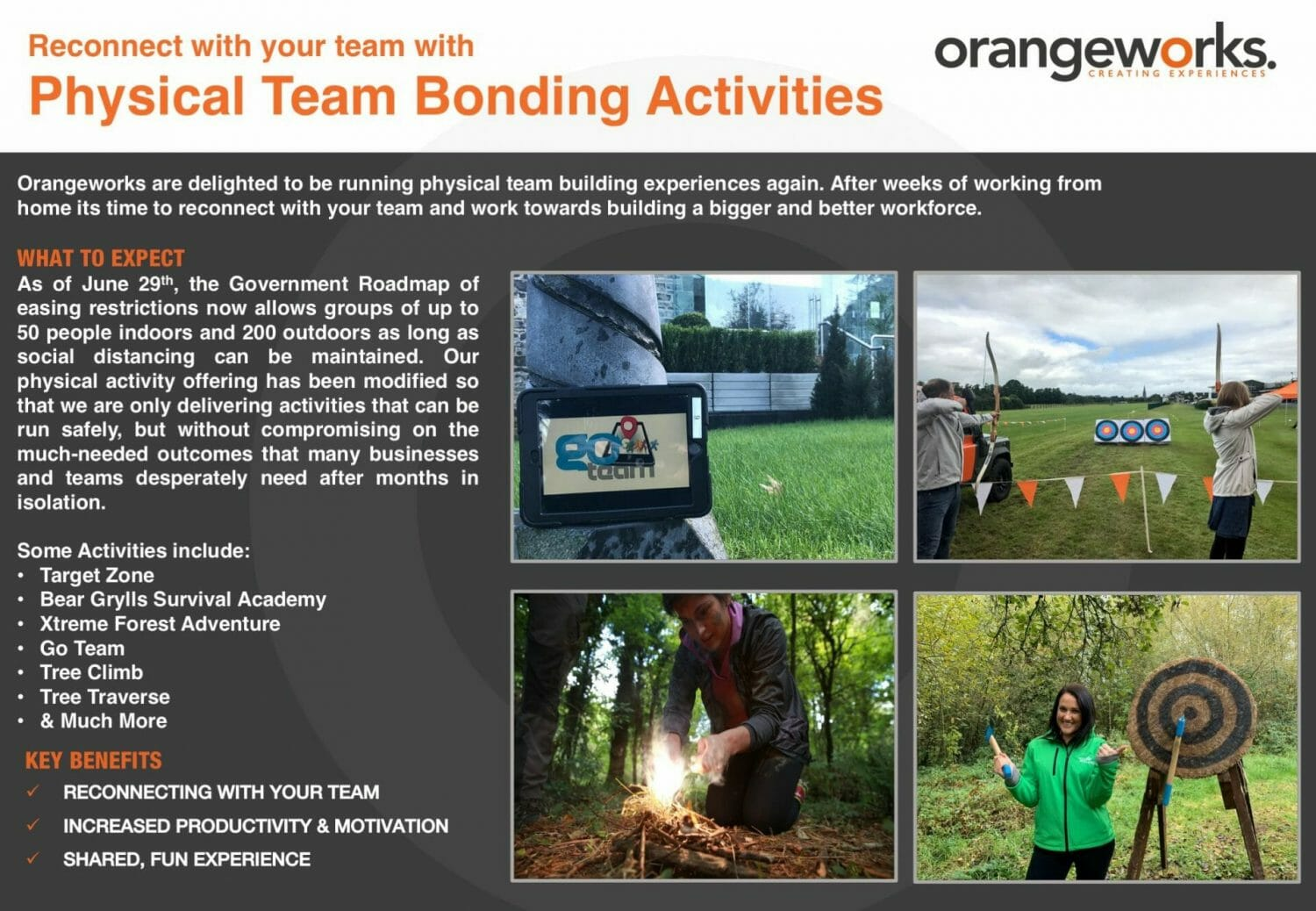Orangeworks physical team bonding activities