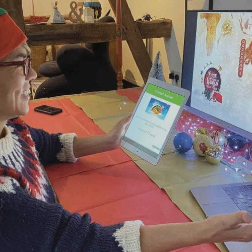 A Delegate playing the festive edition of Race Around The World, a virtual team building activity hosted by Orangeworks.