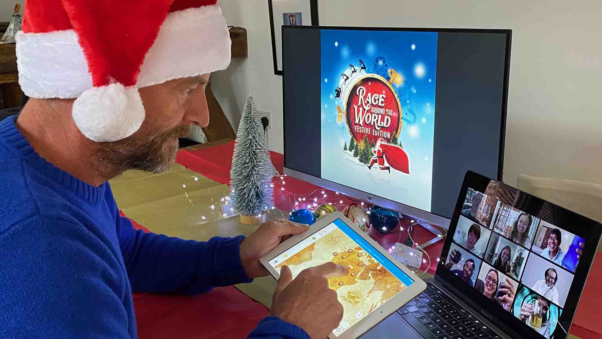 A Delegate playing the festive edition of Race Around The World with, a virtual team building activity hosted by Orangeworks.