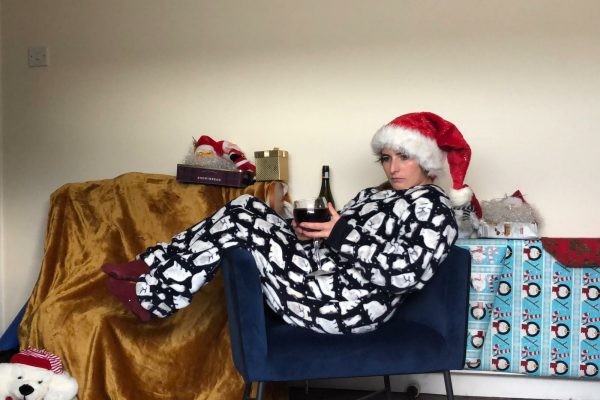 Fiona dressed up as Bridget from the movie Bridget Jones Diary, during one of Orangeworks virtual work Christmas party games.
