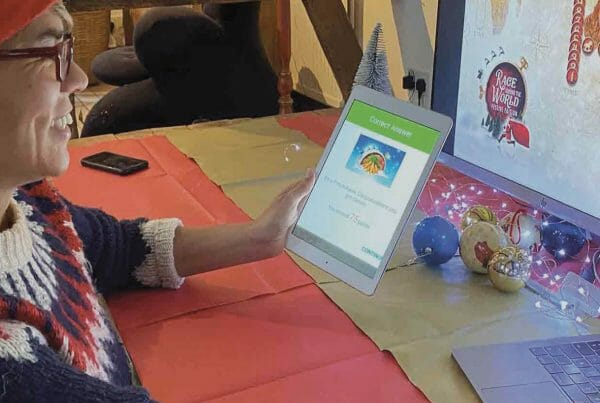 Delegate playing Race Around the World, one of Orangeworks' virtual staff Christmas party games.