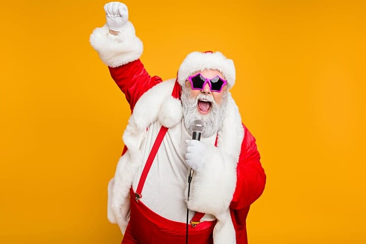 Stock Image of Santa singing